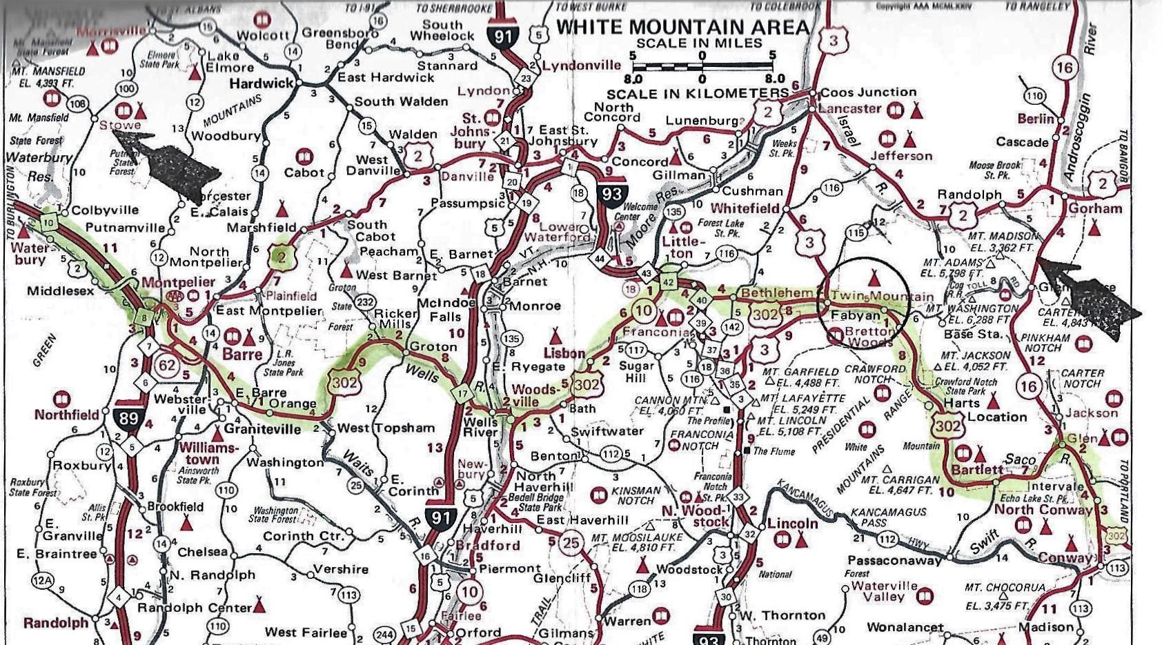 Roadbook von Jeff Korell (AAA) - Abschnitt White Mountains