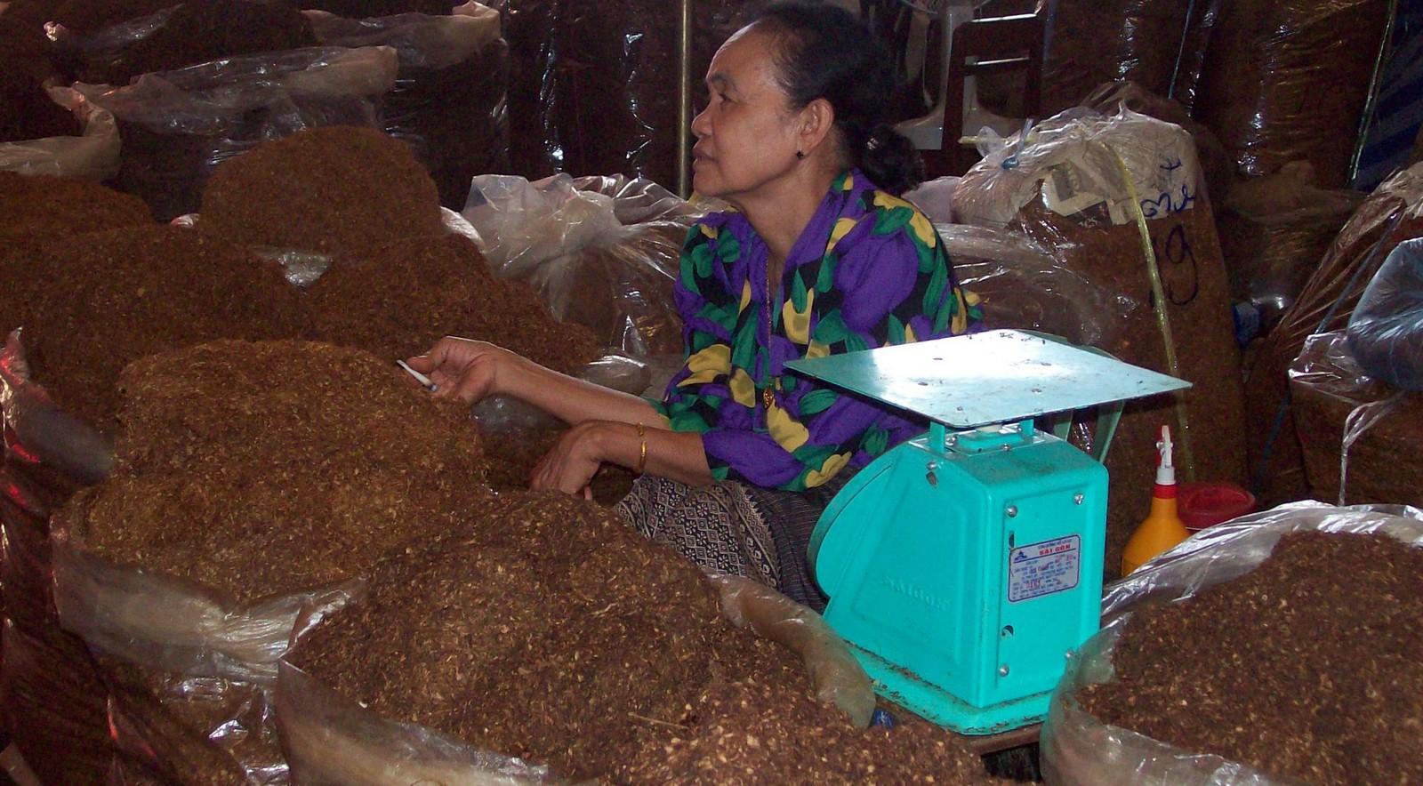 Tabakverkäuferin auf dem Markt von Pakse - Laos