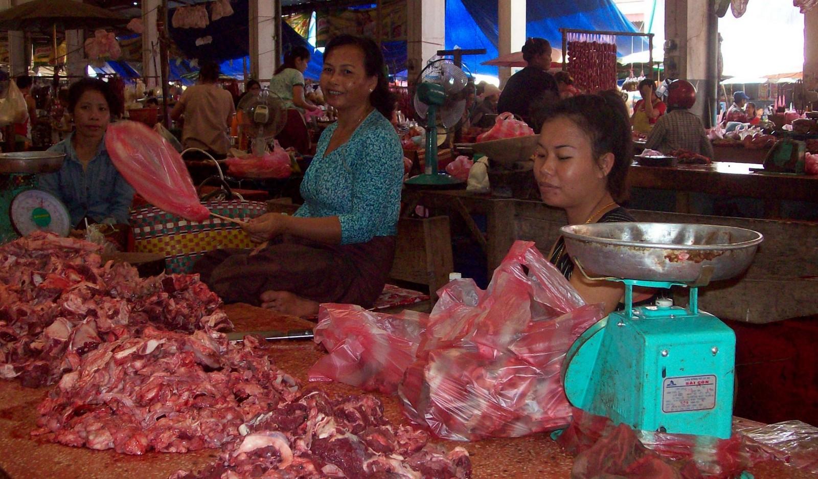 Fleischverkäuferinnen auf dem Markt von Pakse - Laos