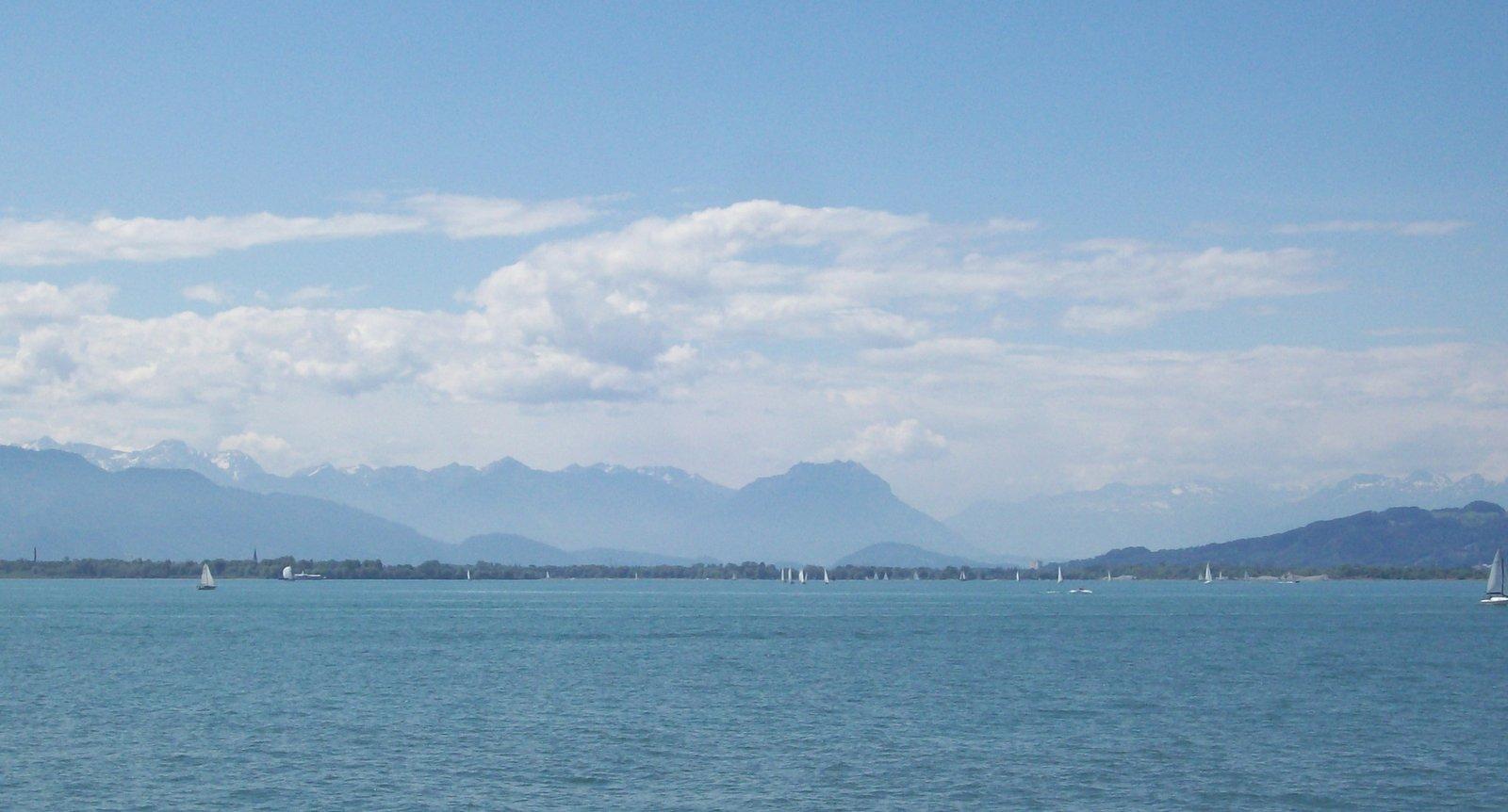 Bodensee an der Mündung des Alpenrheins