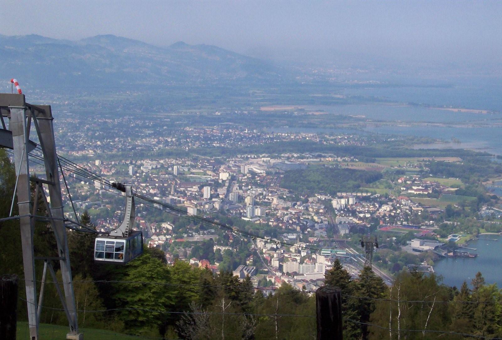 Pfänderbahn mit Bregenz und Bodensee