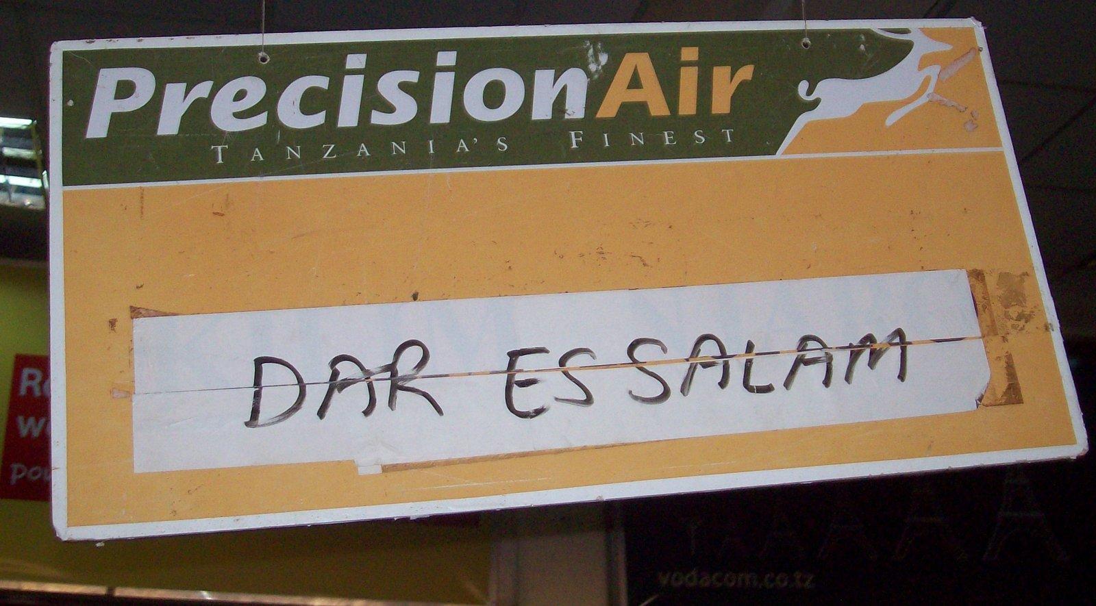Precision Air Flugziel:Dar-es-Salam