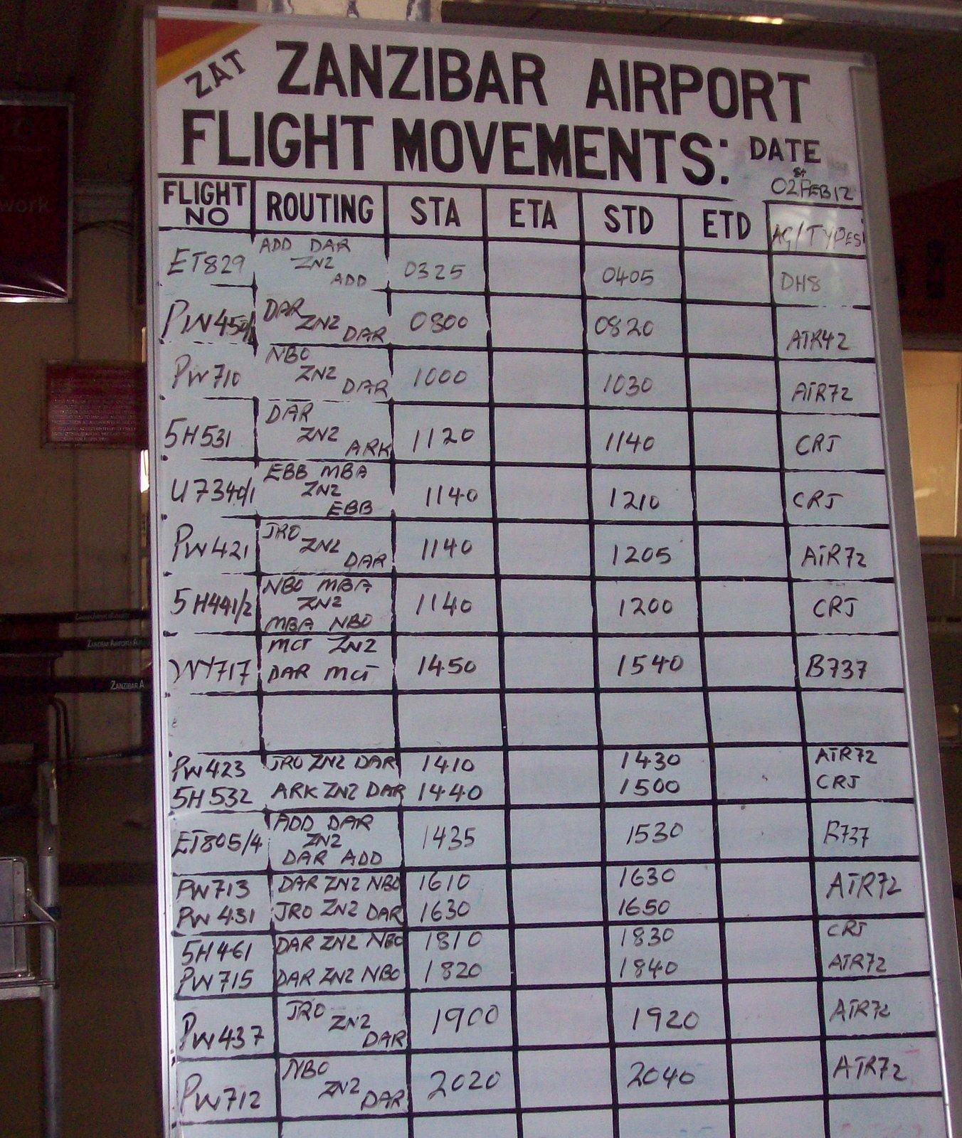 Abflugtafel am Flughafen von Sansibar