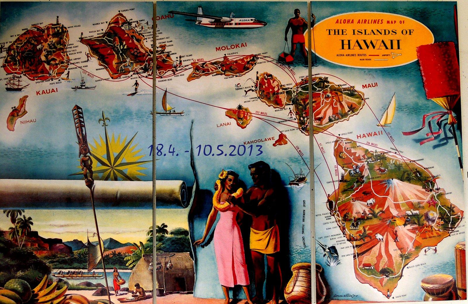 Karte der Hawaii-Inseln am Flughafen von Honolu