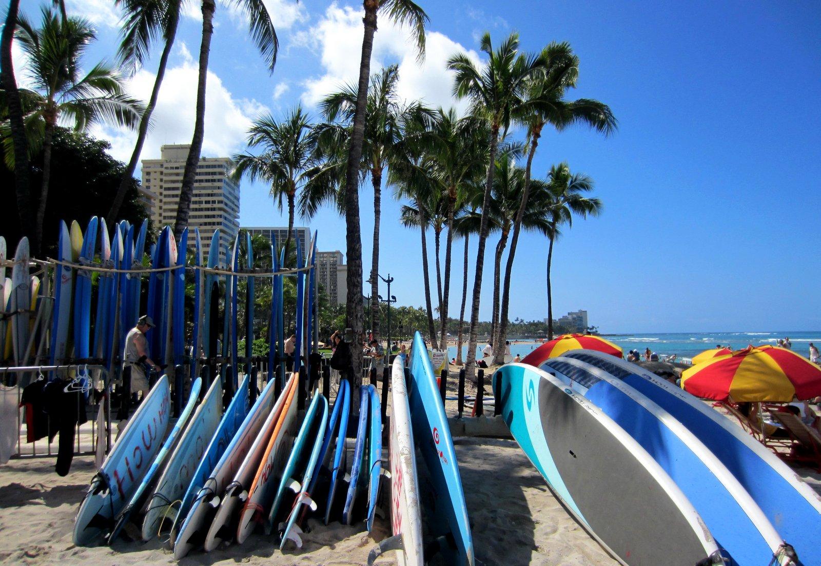 Surfboards am Strand von Waikiki