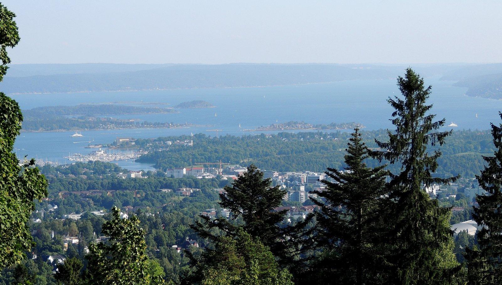Blick vom Holmenkollen auf den Oslofjord