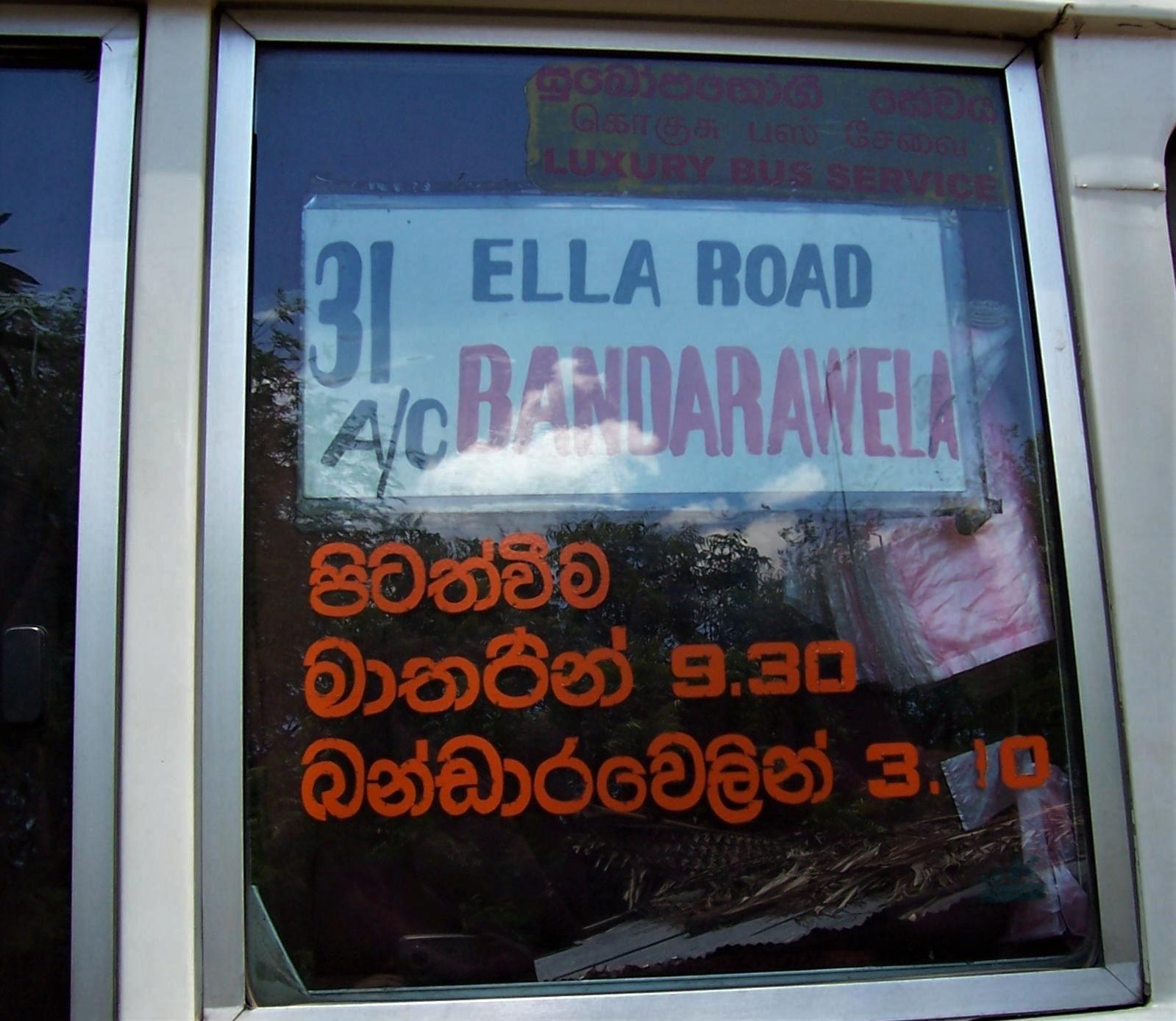 Buslinie 31 - Banderawela über die Ella-Road