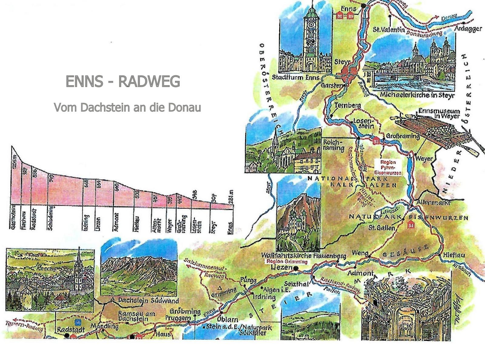 Karte Enns-Radweg