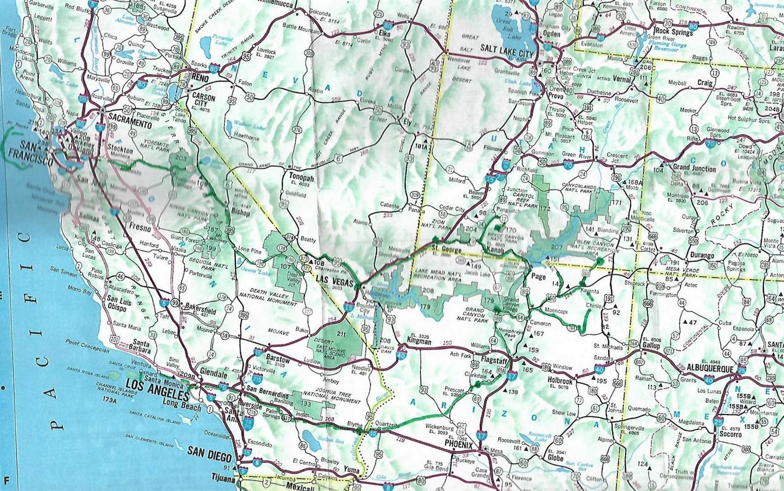 Karte Westen der USA